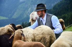 Bauer auf der Alm mit Schafen